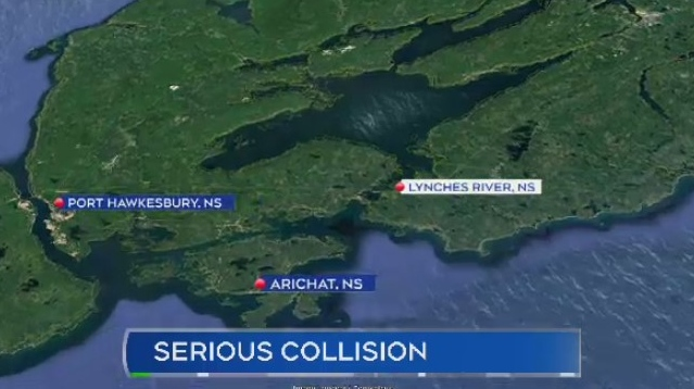 A man was airlifted to hospital with life-threatening injuries following a single-vehicle collision in Lynches River, N.S.