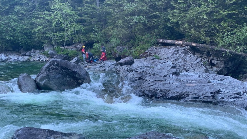 Coquitlam Search and Rescue says a person died while swimming at Widgeon Falls on Monday. (Coquitlam Search and Rescue/Facebook)