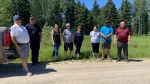 Prince Albert Grand Council and Montreal Lake Cree Nation representatives scout the site of a new women's shelter, set to be complete in spring 2023. (Prince Albert Grand Council/Submitted)