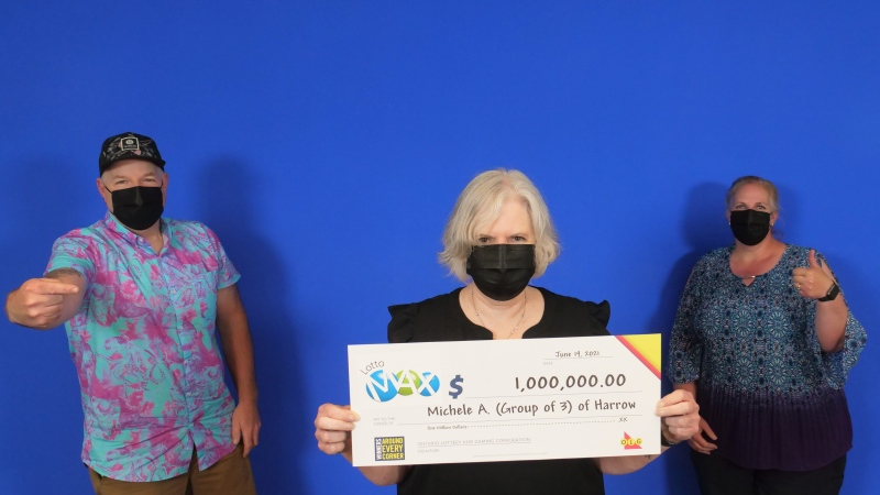 Michele Allen of Harrow, Dana Harris of Harrow, and Michael Allen of Windsor had the winning ticket for a Maxmillions prize from the June 4 draw. (Courtesy OLG)
