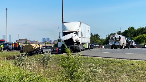 Police are on the scene of a fatal pileup on Highway 400 near Finch Avenue. (Twitter/@OPP_HSD)
