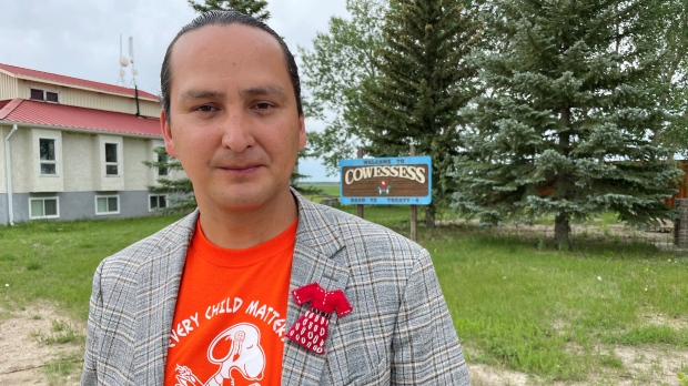 Cowessess First Nation Chief Cadmus Delorme in front of the community's band office. (Marc Smith/CTV News)