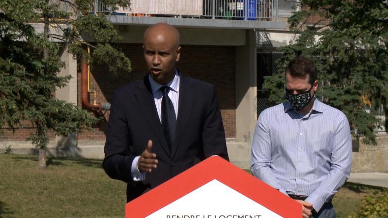 Minister of Families, Children and Social Development Ahmed Hussen announced $165 million for community housing in Ottawa on Thursday. (Jim O'Grady/CTV News Ottawa)