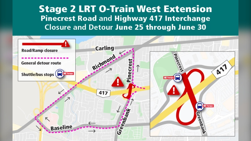 A section of Pinecrest Road will be closed June 25 to 30 for Stage 2 LRT construction. (City of Ottawa)