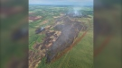 Alberta Wildfire said there was very little fire activity at a 180-hectare wildfire west of Evansburg on June 24, 2021, but that it continued to smolder. (Source: Alberta Wildfire)