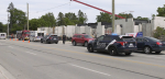 Police and emergency crews attend the scene of an industrial accident that sent one person to hospital on Dunlop Street in Barrie, Ont. on Thurs. June 24, 2021 (Dave Erskine/CTV News)