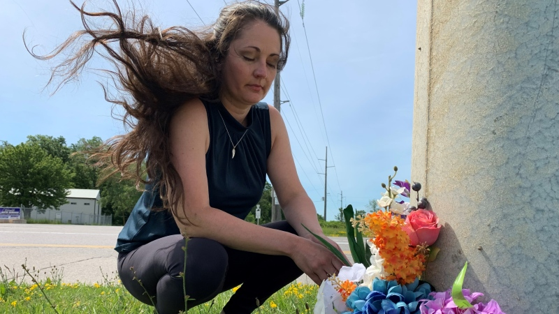 Stephanie Cattrysse at the intersection of London Line and Forest Road in Lambton County, Ont., Thursday, June 24, 2021. (Bryan Bicknell / CTV News)