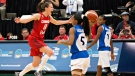 Canada's Kim Gaucher, left, celebrates the team's win over Cuba during second half action of the 2015 FIBA Americas Women's Championship Final in Edmonton, Alta., on Sunday, August 16, 2015. THE CANADIAN PRESS/Jason Franson