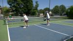A group of pickleball players enjoy a game in Brockville on Thursday morning. (Nate Vandermeer/CTV News Ottawa)