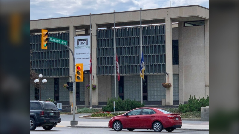 Flags outside of Winnipeg City Hall have been lowered to half-mast in response to the discovery of 751 unmarked graves at a former residential school site in Saskatchewan. (CTV News Photo Jamie Dowsett)