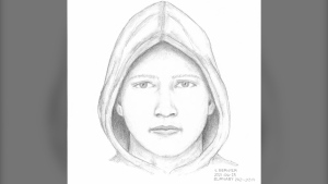 A composite sketch released by Burnaby RCMP is shown.