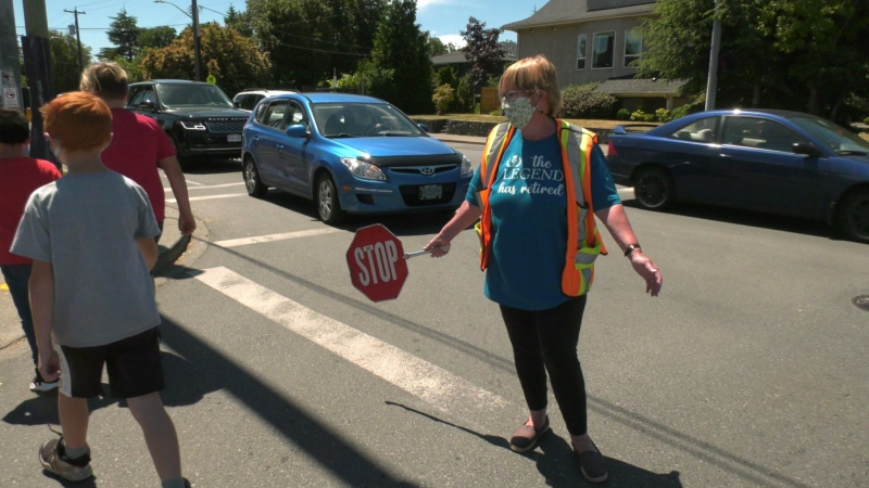 Margaret Young has spent the last 29 years as a crossing guard and educational assistant at Quadra Elementary School. On Thursday, she began her retirement. (CTV News)