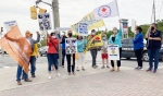 There was a pop-up rally in New Sudbury on Thursday morning in support of 2,400 striking Vale workers. (Alana Everson/CTV News)