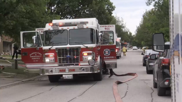 A family has been displaced from their home for at least one night following a fire on Knicely Street on June 24/21 (Luke Simard/CTV News Barrie)