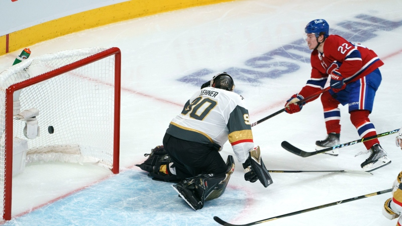 Montreal Canadiens' Cole Caufield (22) scores past Vegas Golden Knights goaltender Robin Lehner during second period game 6 NHL Stanley Cup playoff hockey semifinal action in Montreal, Thursday, June 24, 2021. THE CANADIAN PRESS/Paul Chiasson