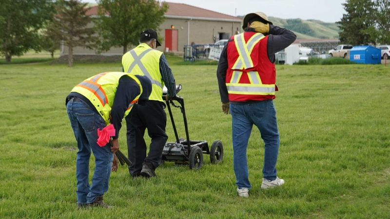 A ground-penetrating radar is used to record hits of what are believed to be 751 unmarked graves near the grounds of the former Marieval Indian Residential School on the Cowessess First Nation, Sask. in this undated handout photo provided by the Federation of Sovereign Indigenous Nations. A Saskatchewan First Nation says it has found 751 unmarked graves at the site of a former residential school. The Cowessess First Nation says ground-penetrating radar recently discovered the graves at the former Marieval Indian Residential School. THE CANADIAN PRESS/HO, FSIN