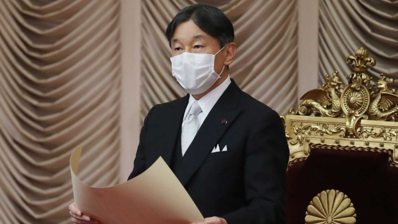 Japan's Emperor Naruhito wearing a face mask to protect against the coronavirus reads a statement to formally open an extraordinary Diet session at the upper house of parliament in Tokyo, Monday, Oct. 26, 2020. (AP / Koji Sasahara)