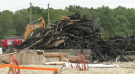 Rubble from homes destroyed in a fire in Kitchener