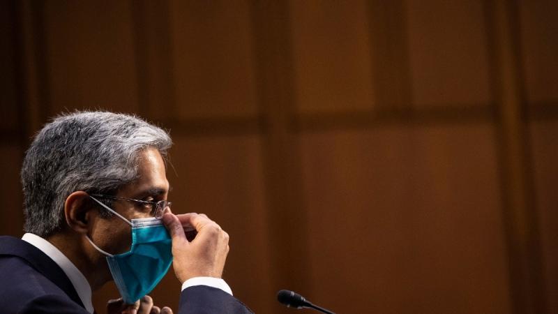 Vivek Murthy testifies before the Senate Health, Education, Labor, and Pensions committee on Capitol Hill in Washington on Feb. 25, 2021. (Caroline Brehman / Pool via AP)