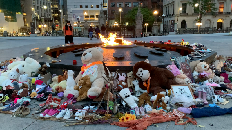 A memorial for Indigenous children lost and buried at residential schools on Parliament Hill. (Jackie Perez/CTV News Ottawa)