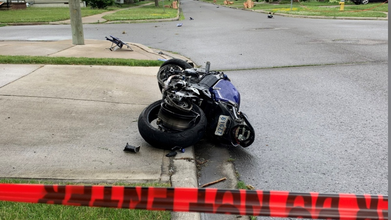Motorcycle crash on Alice St. and Tourangeau Rd. in Windsor (Bob Bellacicco, CTV Windsor)