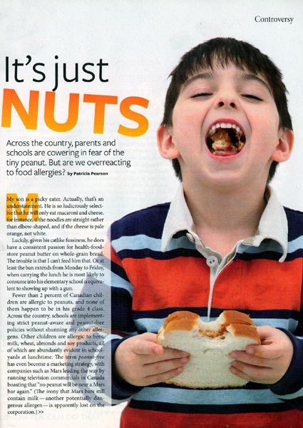 "A photo of the article, titled ""It's just NUTS,"" appearing in the December 2009 edition of Chatelaine Magazine."