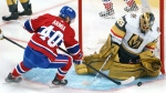Vegas Golden Knights' Marc-Andre Fleury makes a save off Montreal Canadiens' Joel Armia during second period of Game 3 of the NHL Stanley Cup semifinal Friday, June 18, 2021 in Montreal. THE CANADIAN PRESS/Paul Chiasson