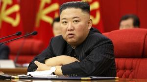 North Korean leader Kim Jong Un speaks during a Workers' Party meeting in Pyongyang, North Korea, on June 18, 2021. (Korean Central News Agency / Korea News Service via AP)