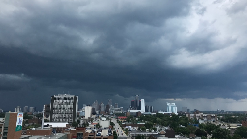 Rain clouds moving over Windsor, Ont. on Tuesday, June 29, 2021. (Michelle Maluske/CTV Windsor)