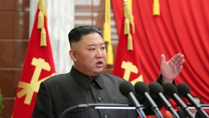 In this photo provided by the North Korean government, North Korean leader Kim Jong Un speaks during a Politburo meeting of the ruling Workers' Party in Pyongyang, North Korea, Tuesday, June 29, 2021. The content of this image is as provided and cannot be independently verified. (Korean Central News Agency/Korea News Service via AP)