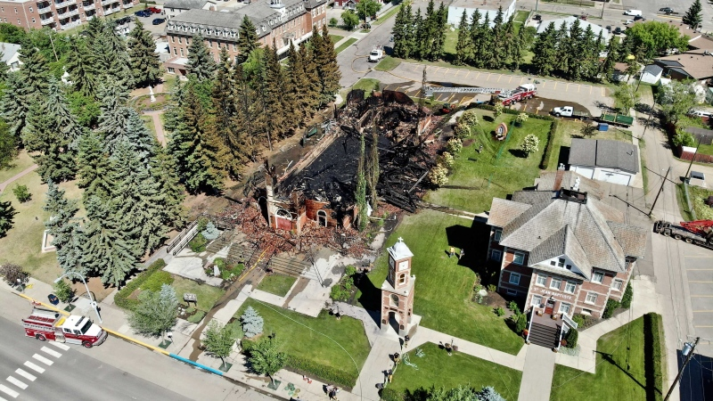 Morinville's Roman Catholic St. Jean Baptiste Parish was destroyed in a fire on June 30, 2021.