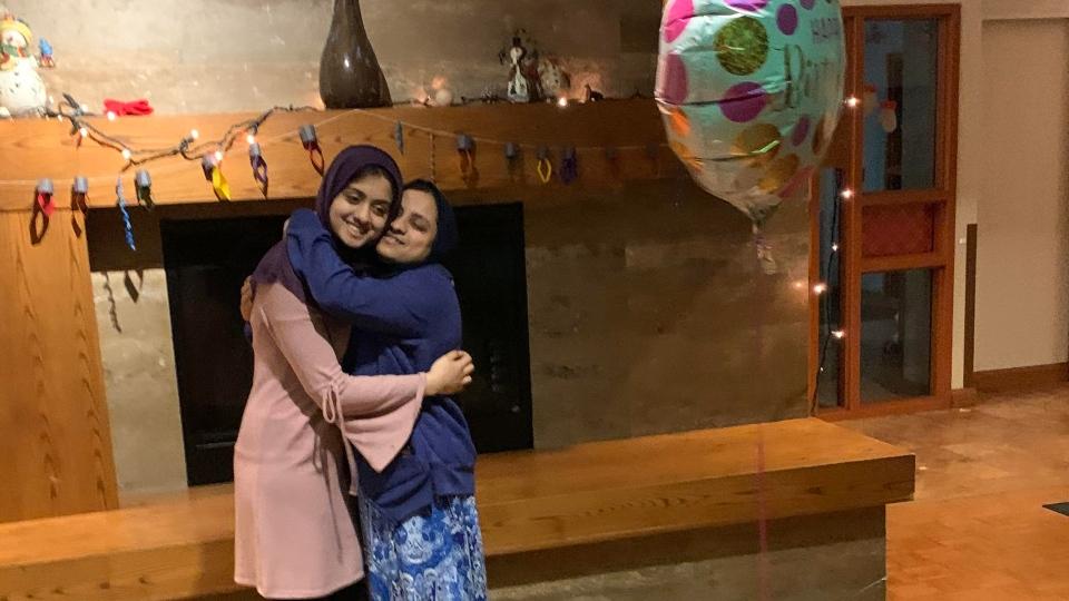Homayra Ahmed hugging her mother