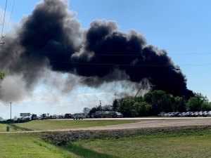 Emergency crews respond to a fire on McGillivray Boulevard in Winnipeg on June 30, 2021. (Source: Gary Robson/ CTV News Winnipeg)