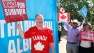 Alberta Premier Jason Kenney celebrates the lifting of public health restrictions by taking part in Canada Day celebrations in Calgary, Alta., Thursday, July 1, 2021. THE CANADIAN PRESS/Larry MacDougal