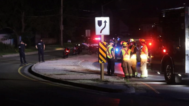 Emergency crews respond after a motocycle crash in LaSalle, Ont., in the early morning hours of Sunday, July 4, 2021. (Source: @_OnLocation_ / Twitter)