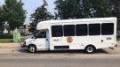 A Huron Shores Area Transit Service bus at terminal in London, Ont. on July 5, 2020. (Sean Irvine CTV News)