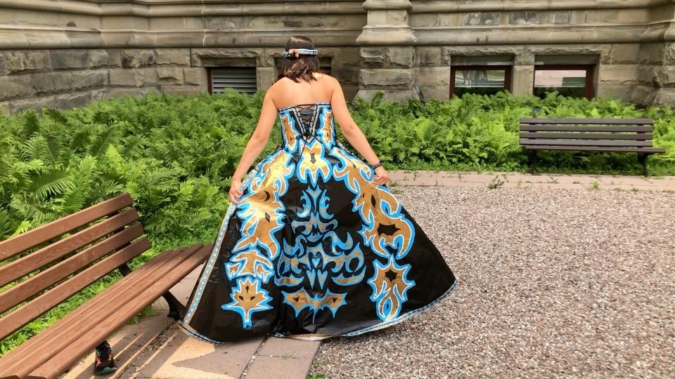 Erika Avellaneda duct tape dress