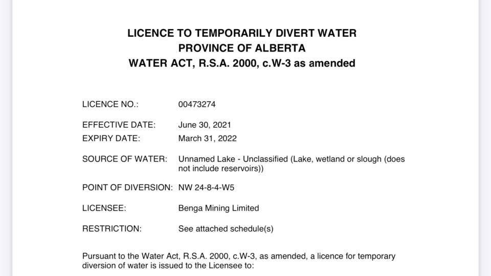 Benga Mining letter Crowsnest Pass