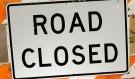 Road closure sign. (File)