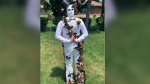 Recent Villanova graduate Ryan Bekic has created this tux made out of duct tape in LaSalle, Ont. on Tuesday, July 6, 2021. (Alana Hadadean/CTV Windsor)