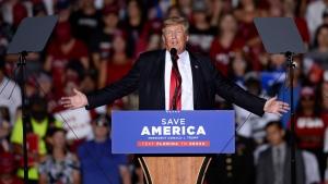Former U.S. President Donald Trump speaks during a rally at the Sarasota Fairgrounds Saturday, July 3, 2021, in Sarasota, Fla. (AP Photo/Jason Behnken)