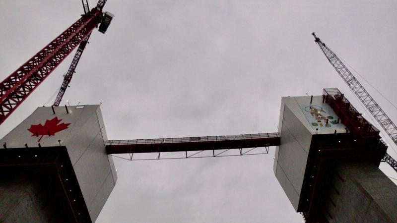 Construction of the Gordie Howe International Bridge in Windsor, Ont. on Thursday, July 8 2021. (Rich Garton/CTV Windsor)