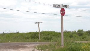 The intersection at King Edward Street and Jefferson Avenue is pictured on July 8, 2021. A Winnipeg man has been charged with first-degree murder in the death of a three-year-old girl, who was found in a vehicle in the area on Wednesday. (CTV News Photo Glenn Pismenny)