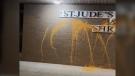 Vandalism outside St. Judes in Vancouver. (St. Judes Parish and Shrine/Facebook)
