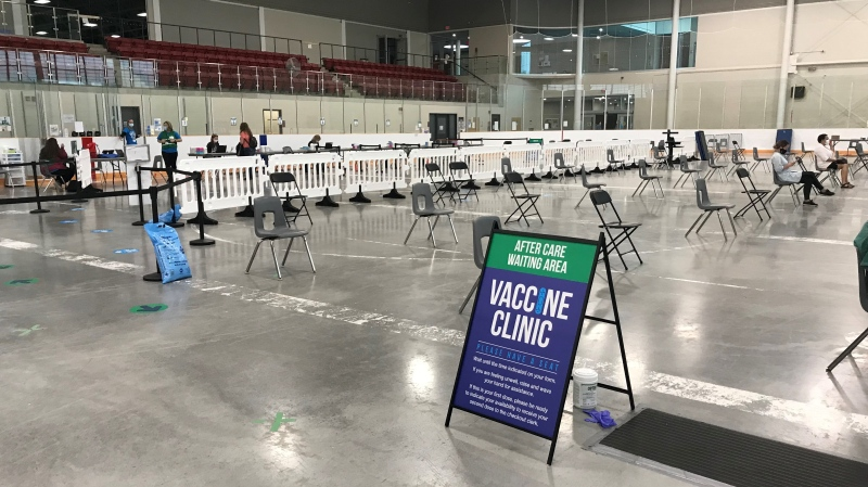 The Holly Recreational Centre in Barrie, Ont. is converted into a COVID-19 Immunization Clinic. (CTV News Barrie)