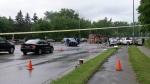 Three-vehicle crash on Wonderland Road in London, Ont. on Thursday, July 8, 2021. (Marek Sutherland/CTV London)