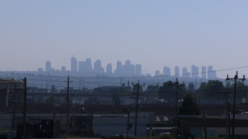The Vancouver skyline is seen during a record-breaking heat wave in June 2021.