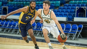 A Saskatchewan Rattlers player is pictured in a game against the Edmonton Stingers. (CEBL)