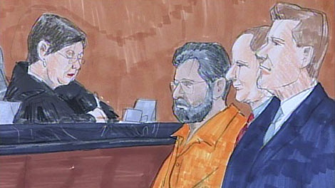 This image taken from video shows a courtroom artist's drawing of Tahawwur Hussain Rana, center, 48, at a bond hearing before federal Magistrate Judge Nan Nolan in Chicago on Wednesday, Oct. 28, 2009. (AP / Lou Chuckman)