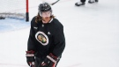 Chicago Blackhawks defenseman Duncan Keith smiles during NHL hockey practice at Fifth Third Arena on Monday, July 13, 2020, in Chicago. (AP Photo/Kamil Krzaczynski)